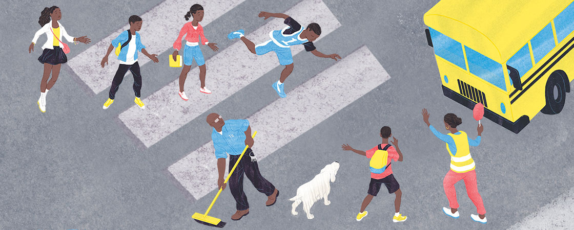 illustration of people crossing the street to school